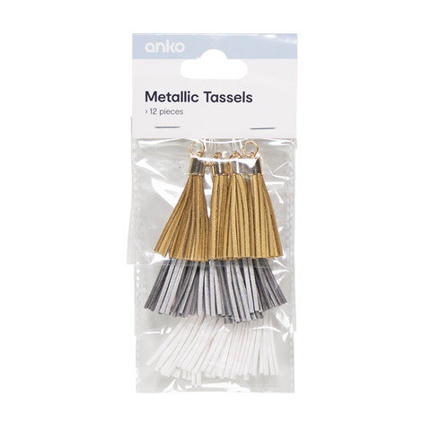 12 Piece Metallic Tassels