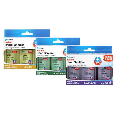 3 Pack MediPure Instant Hand Sanitiser - Assorted