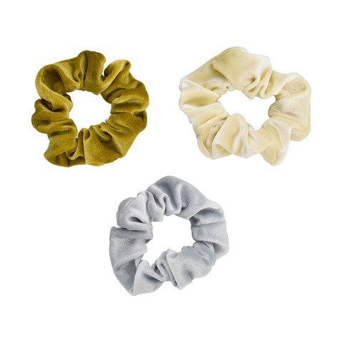 3 Pack Velvet Scrunchies - Mustard