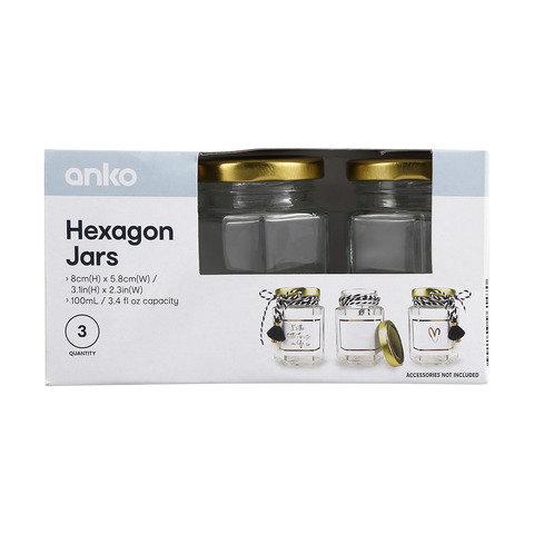 3 Pack Hexagon Jars
