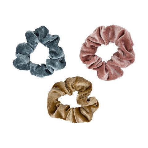 3 Pack Velvet Look Scrunchies - Mustard, Pink & Blue