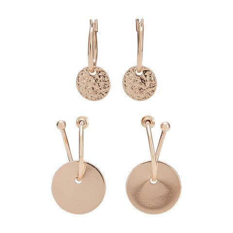 2 Pack Coin Hoop Earrings