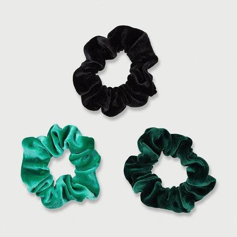 3 Pack Velvet Look Hair Scrunchies - Green