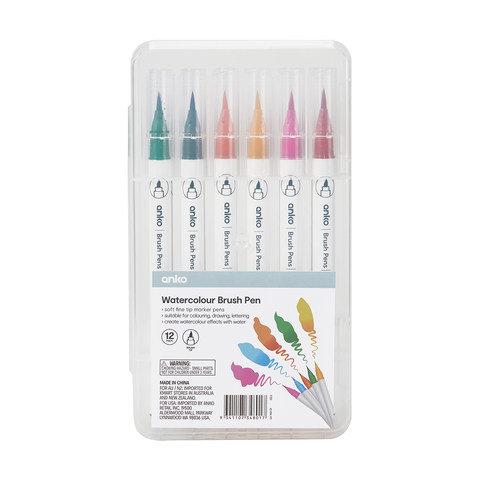 12 Pack WaterCOLOR Brush Pen