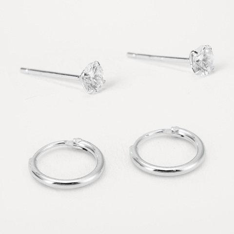 2 Pack Sterling Silver Stud and Hoop Earrings