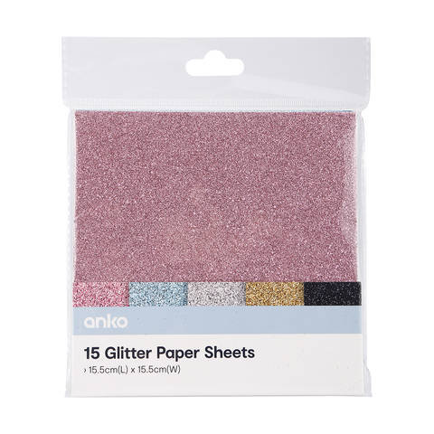 15 Pack Glitter Paper Sheets