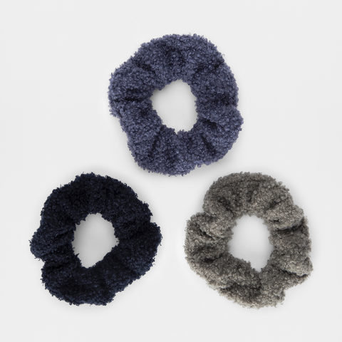 3 Pack Teddy Fur Hair Scrunchies