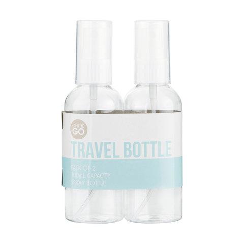 2 Pack 100ml Spray Top Travel Bottles