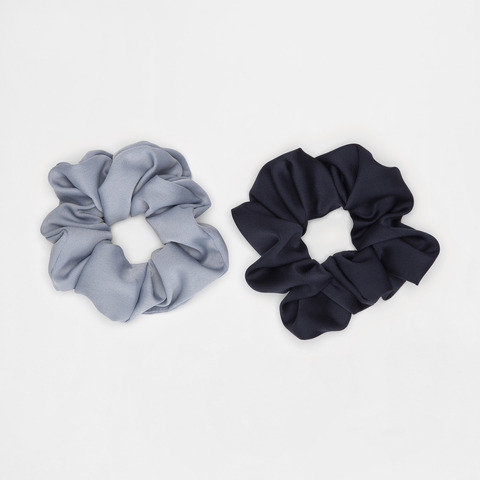 2 Pack Oversized Hair Scrunchies - Light Blue and Navy Blue
