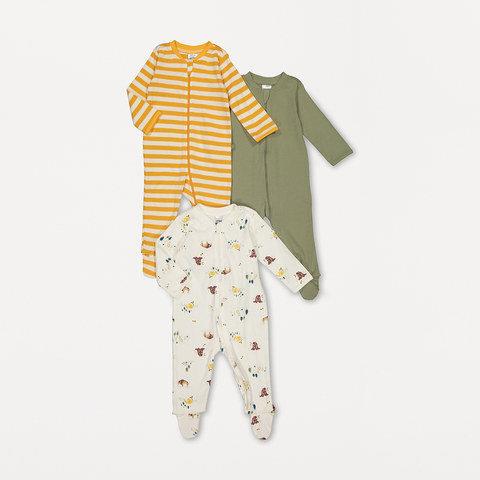 3 Pack Organic Cotton Sleepsuits