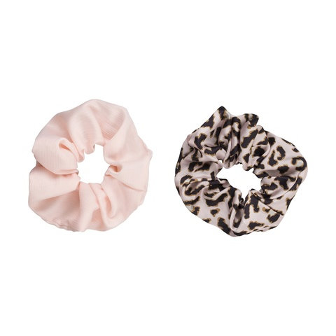 2 Pack Oversized Hair Scrunchies - Leopard Print