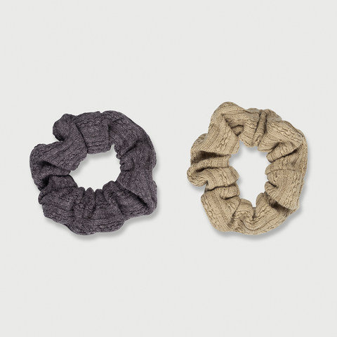 2 Pack Knitted Jacquard Hair Scrunchies