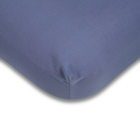 180 Thread Count Fitted Sheet - Single Bed, Mid Blue