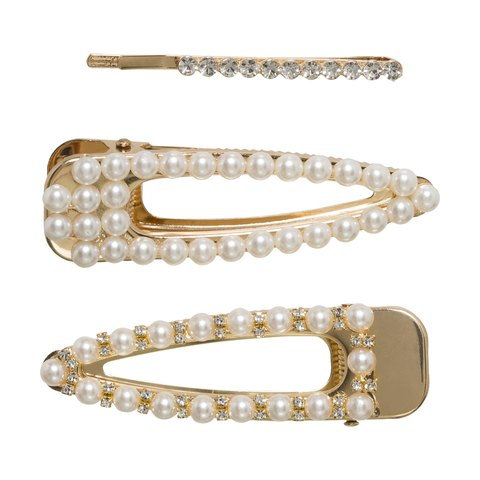 3 Pack Crystal & Pearl Look Snap Clips