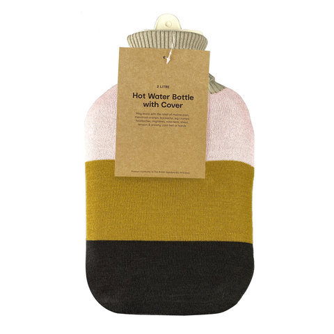 2L Hot Water Bottle with Cover - Stripe Knit