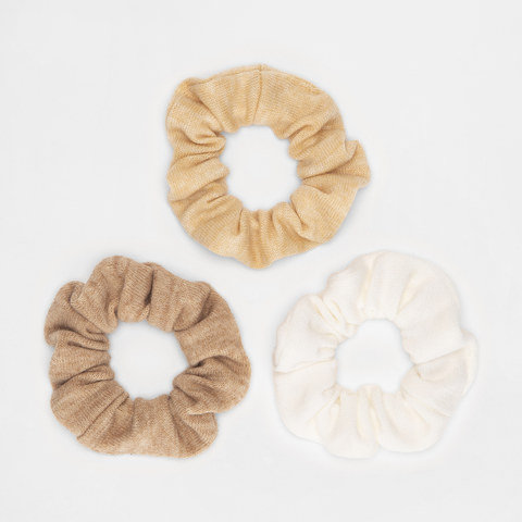 3 Pack Soft Touch Hair Scrunchies - White, Beige and Brown