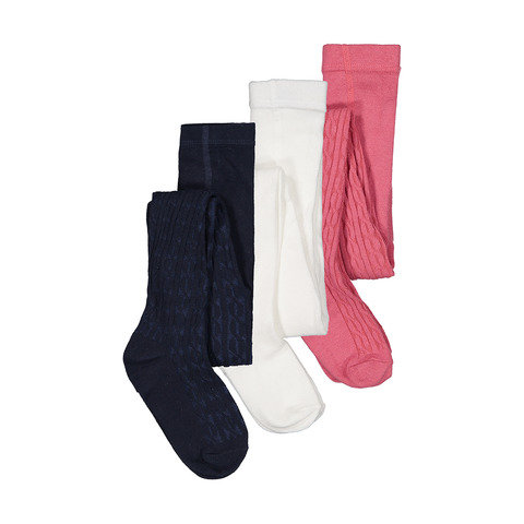 3 Pack Cotton Rich Cable Tights