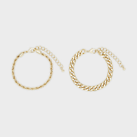 2 Pack Rope and Flat Chain Bracelet - Gold Look