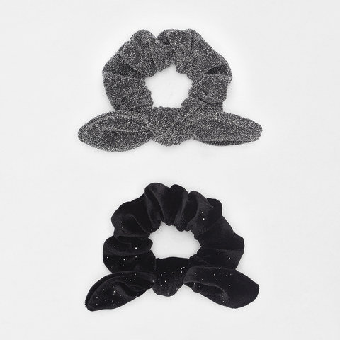 2 Pack Bow and Plain Hair Scrunchies - Black and Silver Look