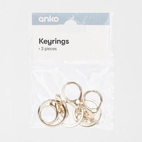 3 Pack Keyrings - Gold Look