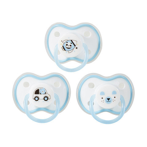 3 Pack Silicone Soothers - Blue