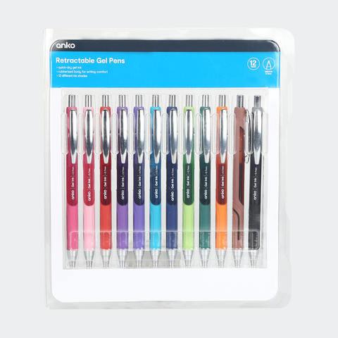 12 Pack Retractable Gel Pens