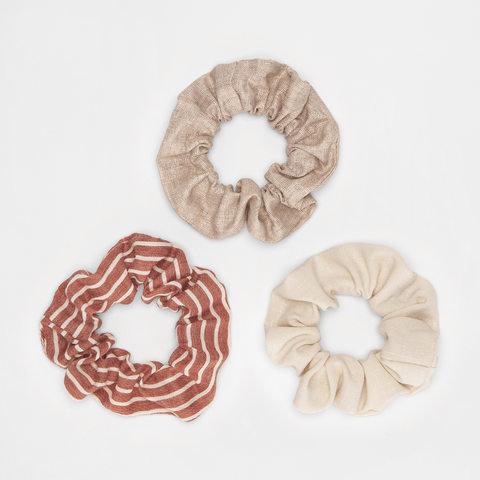 3 Pack Woven & Striped Hair Scrunchies - Rust