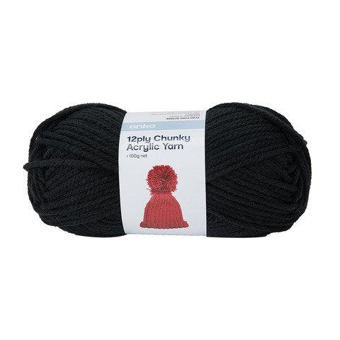12 Ply Chunky Acrylic Yarn - Black