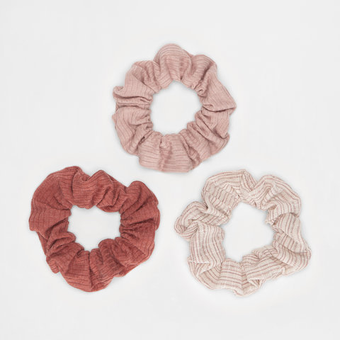 3 Pack Soft Ribbed Hair Scrunchies - Jersey Pink