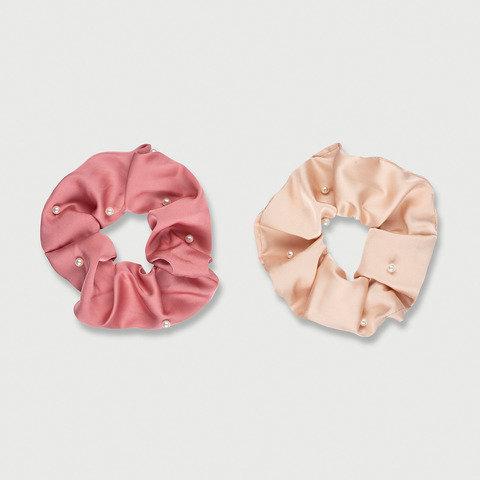 2 Pack Pearl Hair Scrunchies - Pink