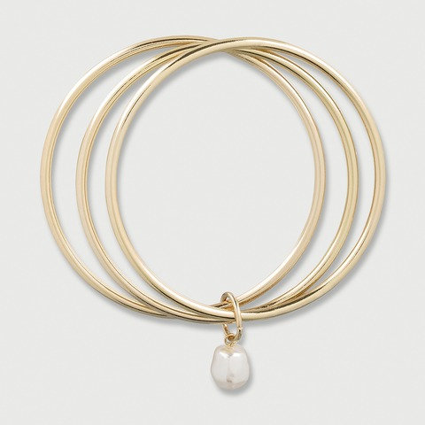 3 Pack Solid Bangles with Faux Pearl - Gold Look