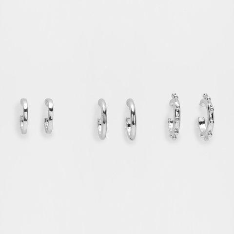 3 Pack Stipple Huggie Earrings - Silver Look