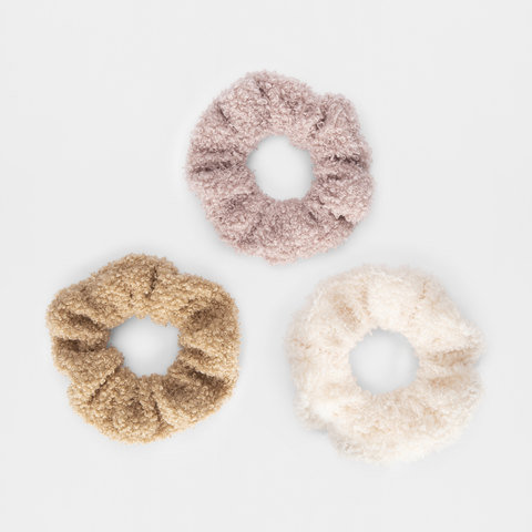 3 Pack Teddy Fur Hair Scrunchies