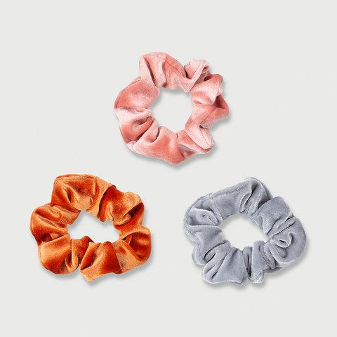 3 Pack Velvet Look Hair Scrunchies - Orange