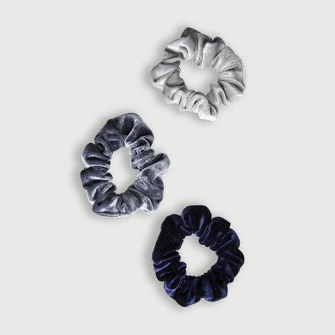 3 Pack Velvet Scrunchies - Midnight Blues