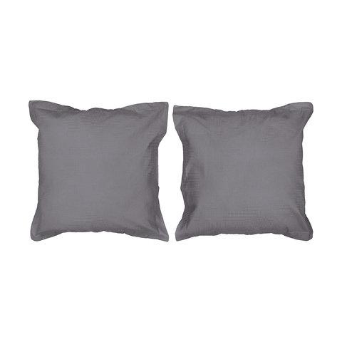 2 European Cotton Waffle Pillowcases - Charcoal