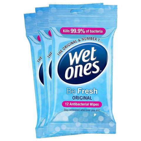 12 Pack Wet Ones Be Fresh Original Antibacterial Wipes