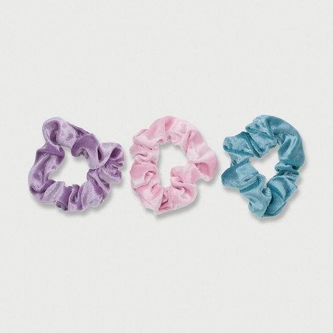 3 Pack Velvet Look Scrunchies - Mermaid
