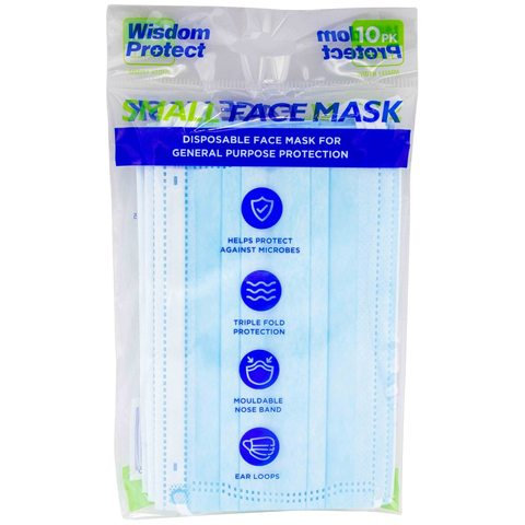 10 Pack Wisdom Protect Disposable Face Mask - Small