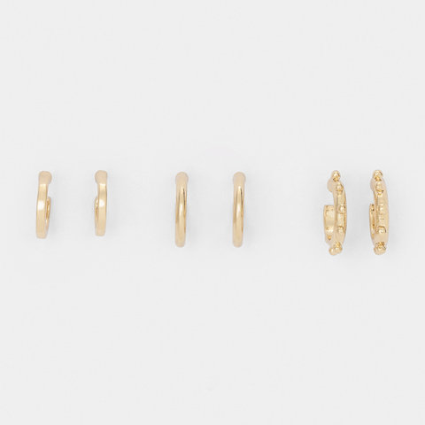 3 Pack Stipple Huggie Earrings - Gold Look