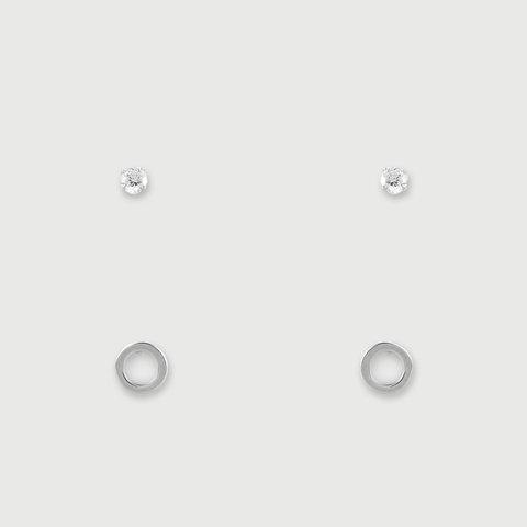 2 Pack Sterling Silver Diamante and Circular Earrings