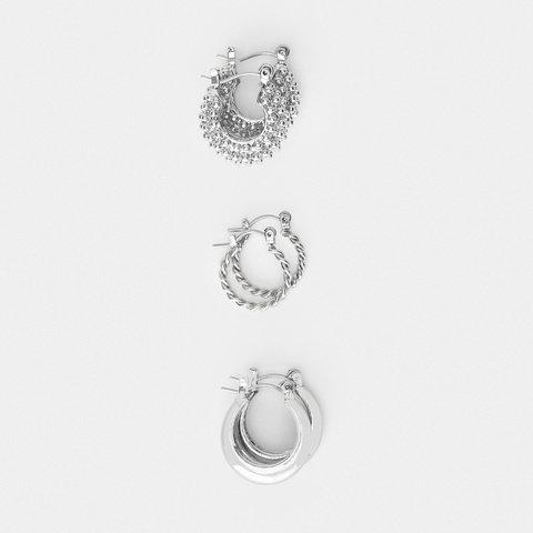 3 Pack Triple Ring Huggie Earrings - Silver Look