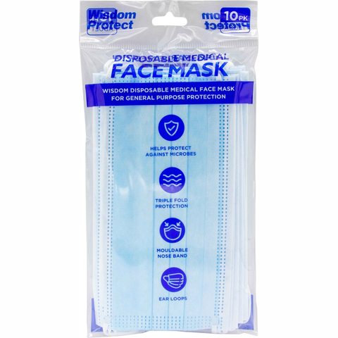 10 Pack Wisdom Protect Disposable Medical Face Mask