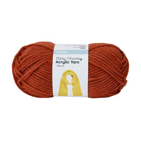 12 Ply Chunky Acrylic Yarn - Orange