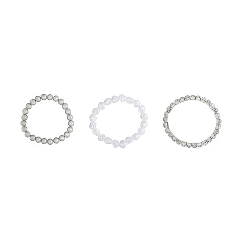 3 Pack Stretch Heart Charm Bracelets - Silver Look & White