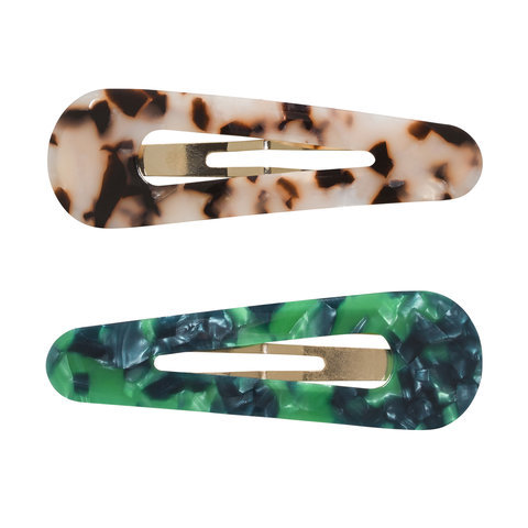 2 Pack Tortoise Snap Clips - Emerald