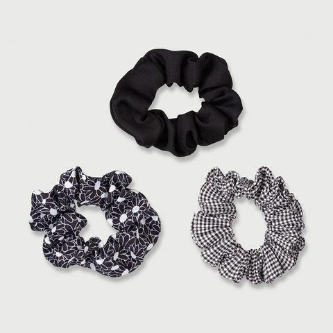 3 Pack Crinkled Hair Scrunchies - Black