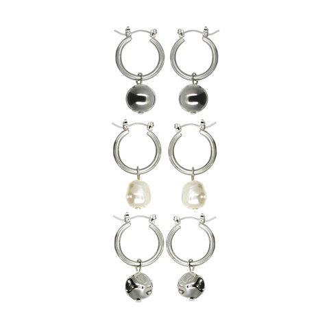 3 Pack Faux Pearl Drop Large Earrings - Ivory Look