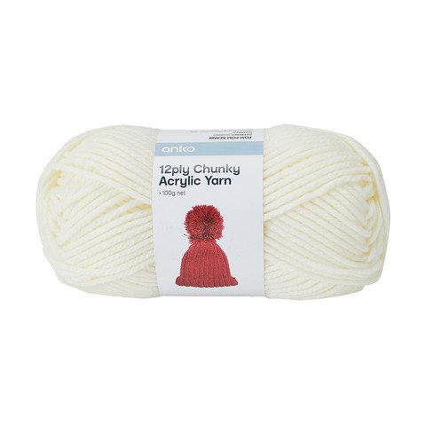12 Ply Chunky Acrylic Yarn - Ecru
