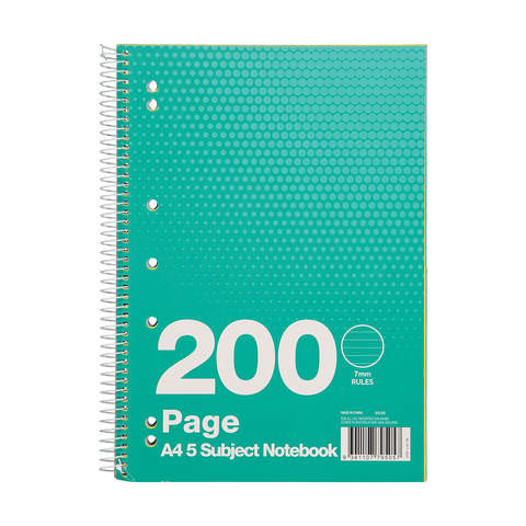 200 Page A4 5 Subject Notebook
